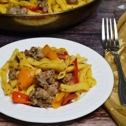 plate of sausage and pepper pasta