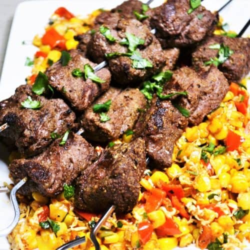 Cumin Rubbed Steak Kabobs with Corn Salad