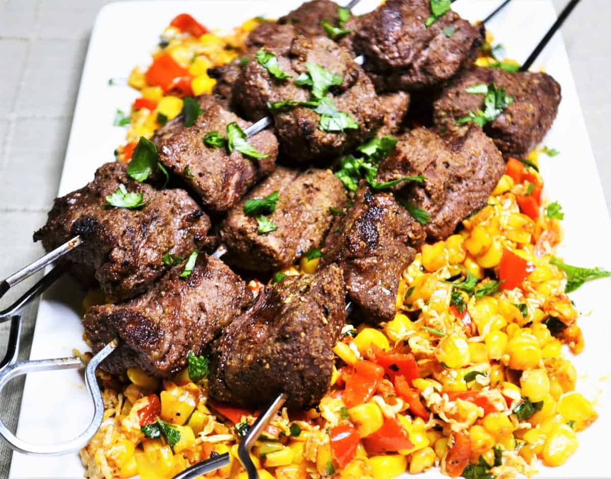 Cumin Rubbed Steak Kabobs with Corn Salad