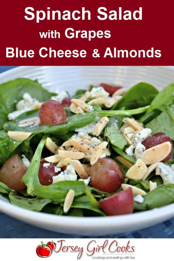 spinach salad with Blue Cheese, Grapes and Almonds
