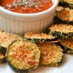 oven fried zucchini with marinara