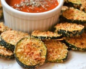 oven fried zucchini with marinara