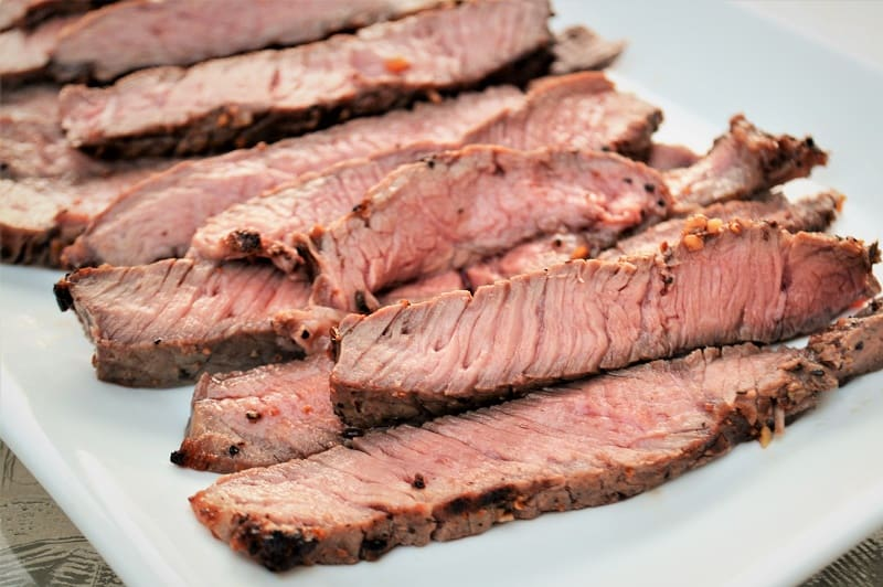 cooked sirloin steak sliced