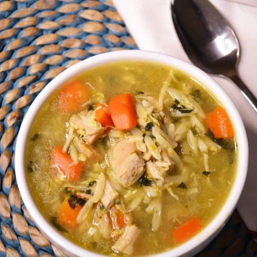 a bowl of leftover turkey orzo soup