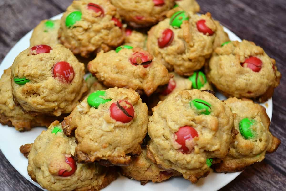 a plate of Mini cookies from my Monster Cookie Recipe