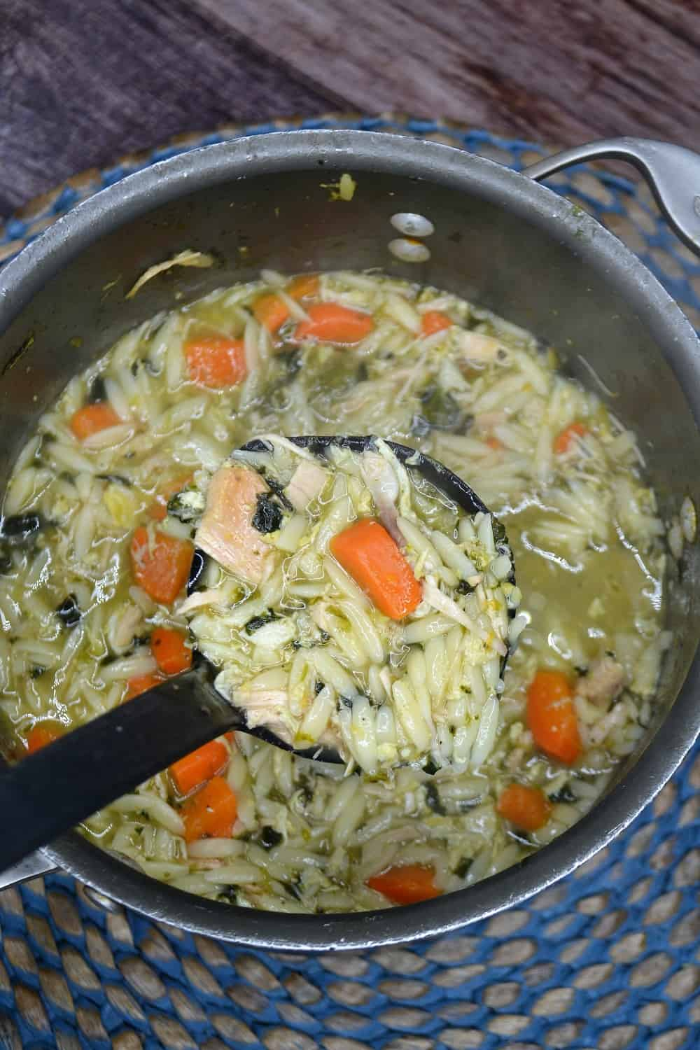 pot of turkey orzo soup