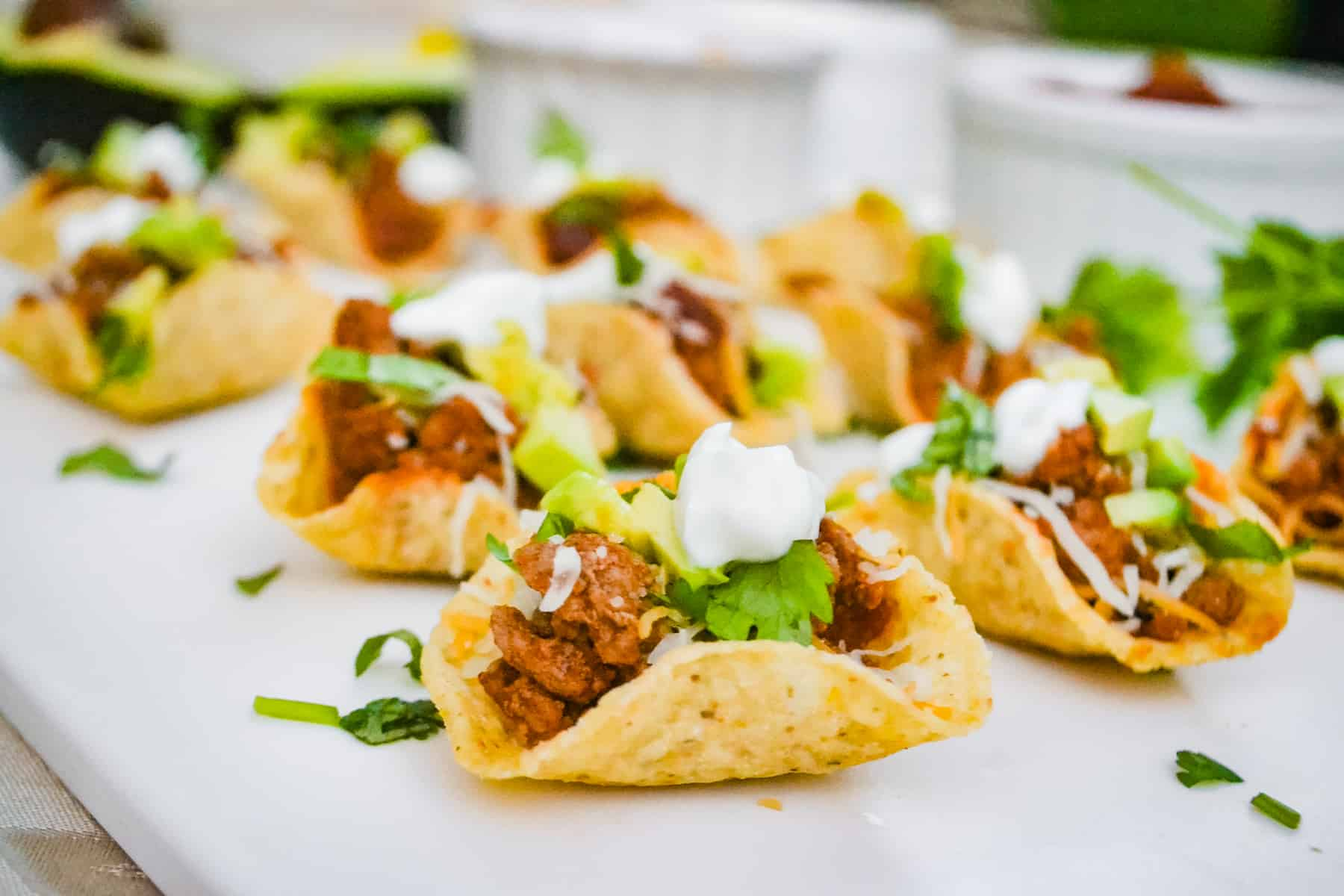 close up of mini taco bowl bite