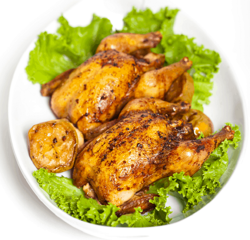 Cornish Game hens make a beautiful dinner plate presentation.