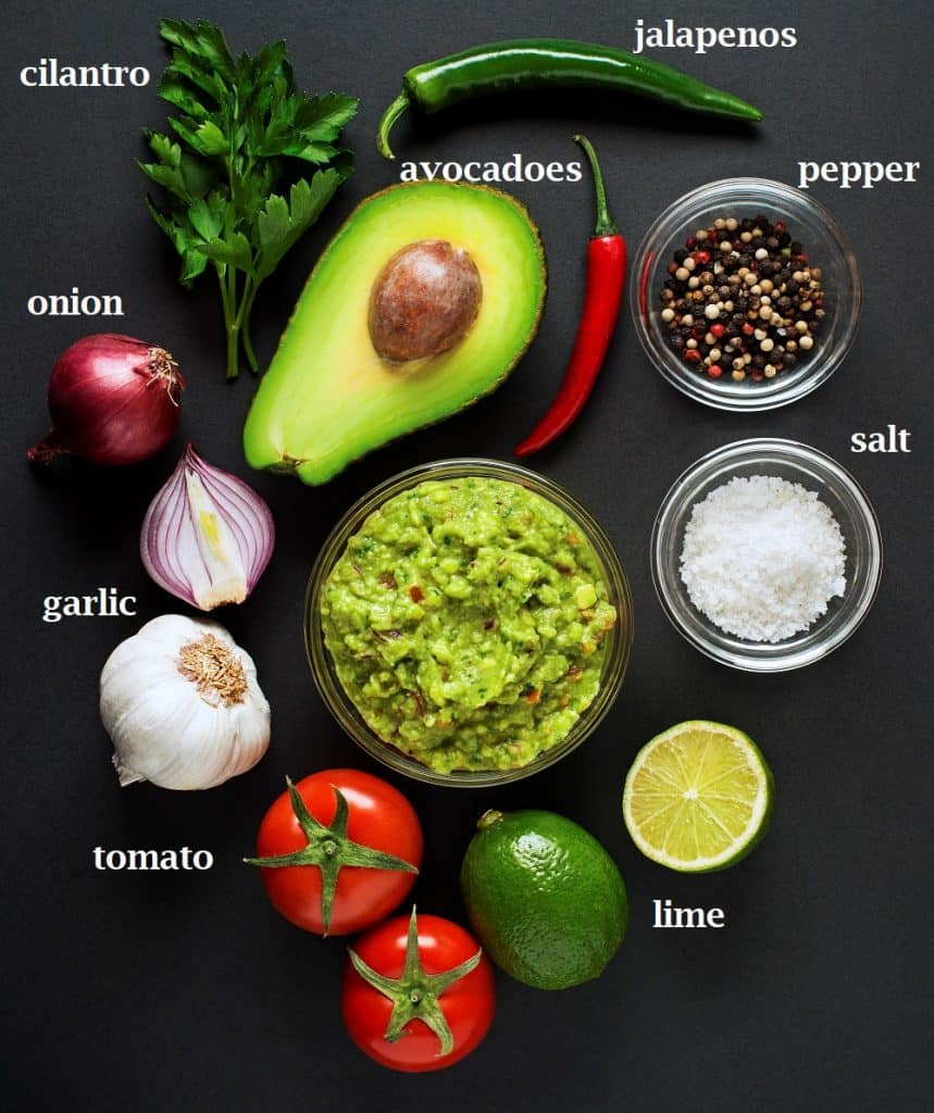 Avocadoes, cilantro, jalapeno, lime, tomatoes, onion, garlic, salt and pepper are the ingredients needed to make this Mexican guacamole.