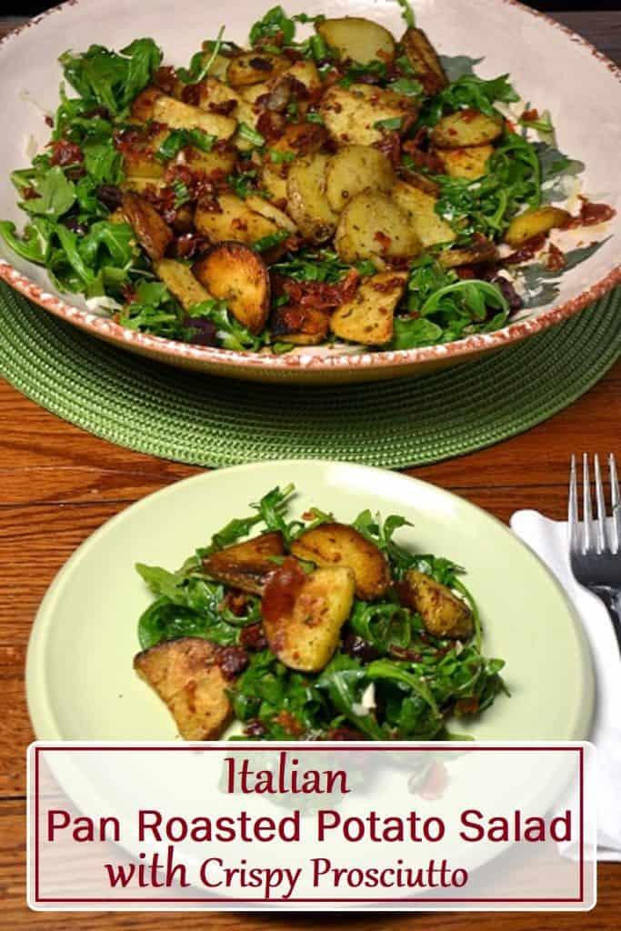 pin for Italian potato salad with crispy prosciutto