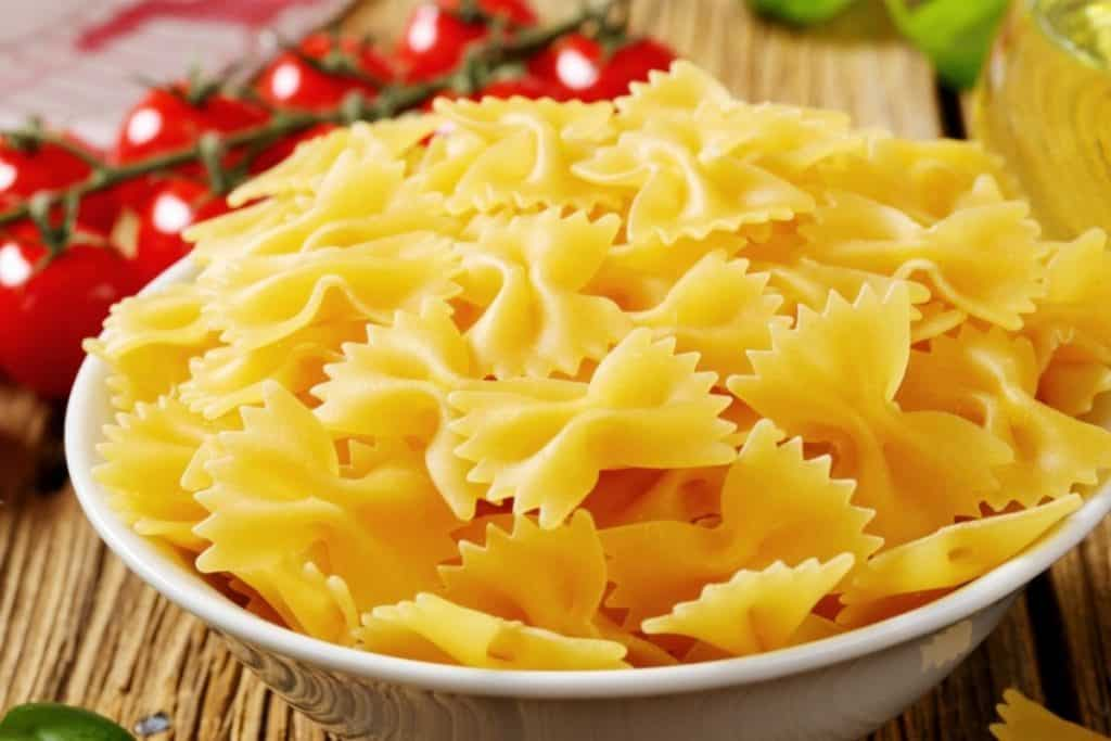 Farfalle pasta (bow tie pasta) is perfect for making pasta salad.