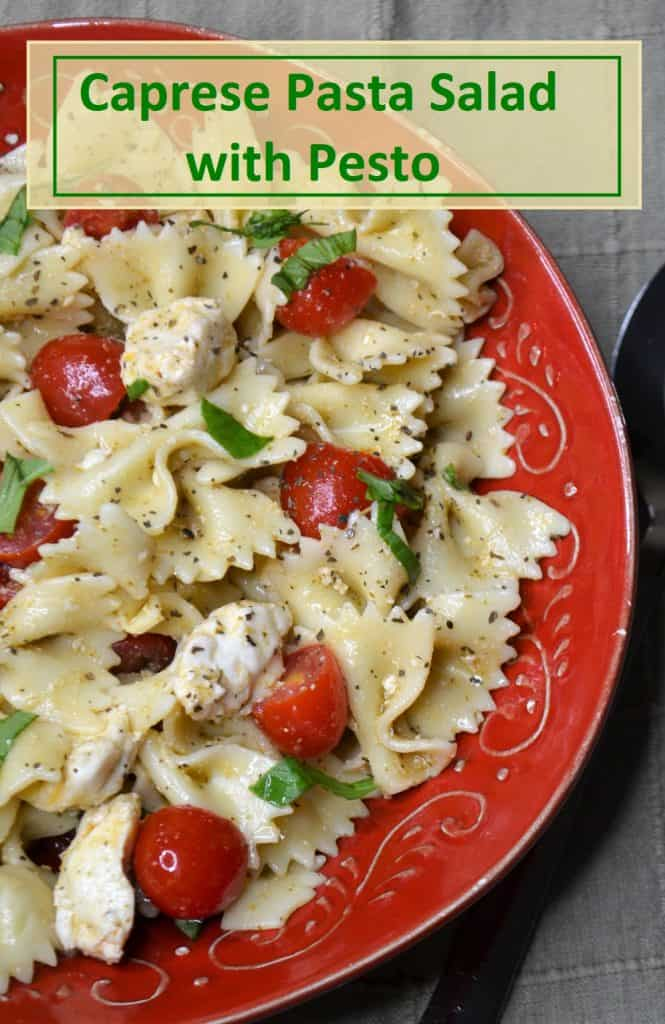 Perfect for dinner, a potluck, or a backyard barbecue! Caprese pasta salad with pesto is simple to make and tastes like something you'd find in a fancy Italian restaurant. You only need about 20 minutes to mix up this bow tie pasta salad and since it's served cold, it's perfect for making ahead. This pasta salad with pesto makes a great summer side dish or light meal. Click here to get the farfalle pasta salad with pesto recipe.
