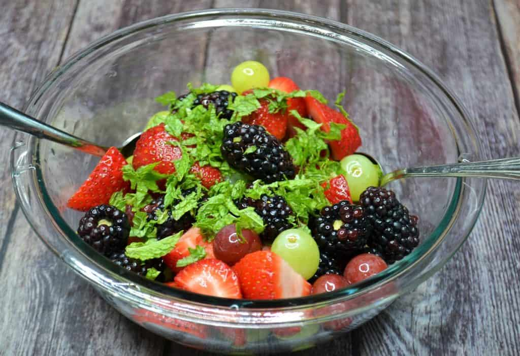 fruit with chopped mint