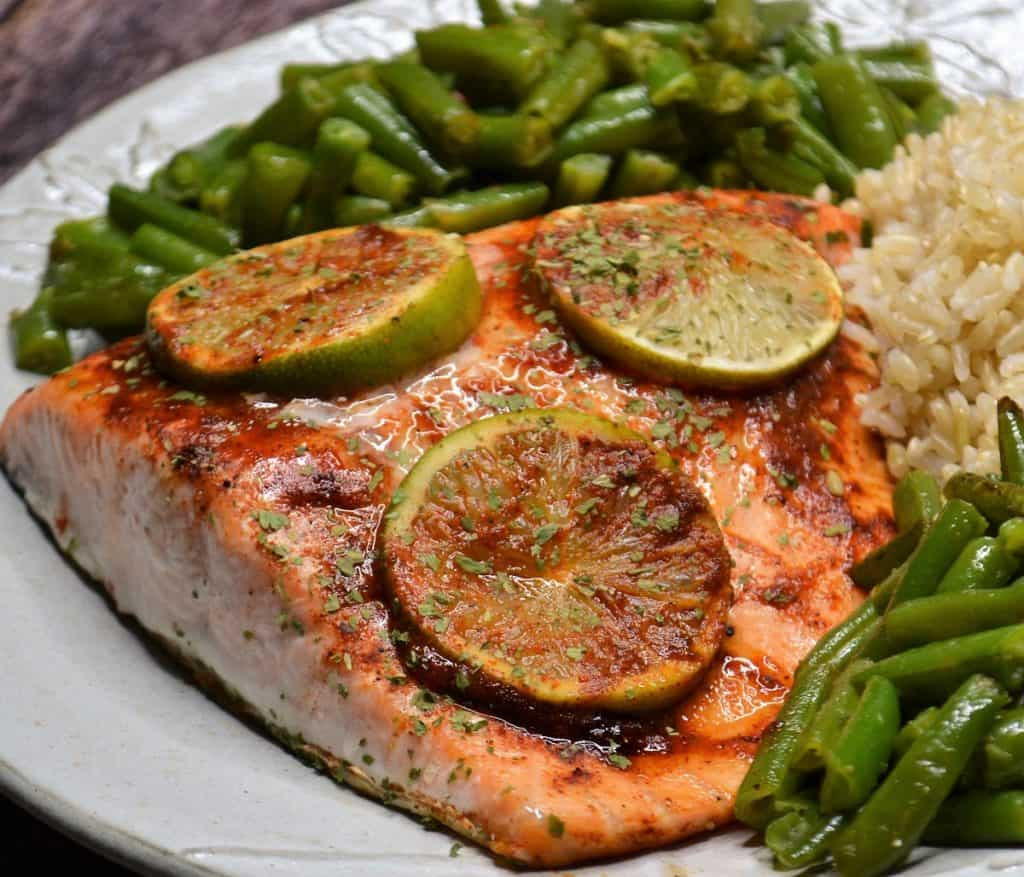 This sweet chili salmon with lime makes a great dinner. Served with brown rice and green beans.