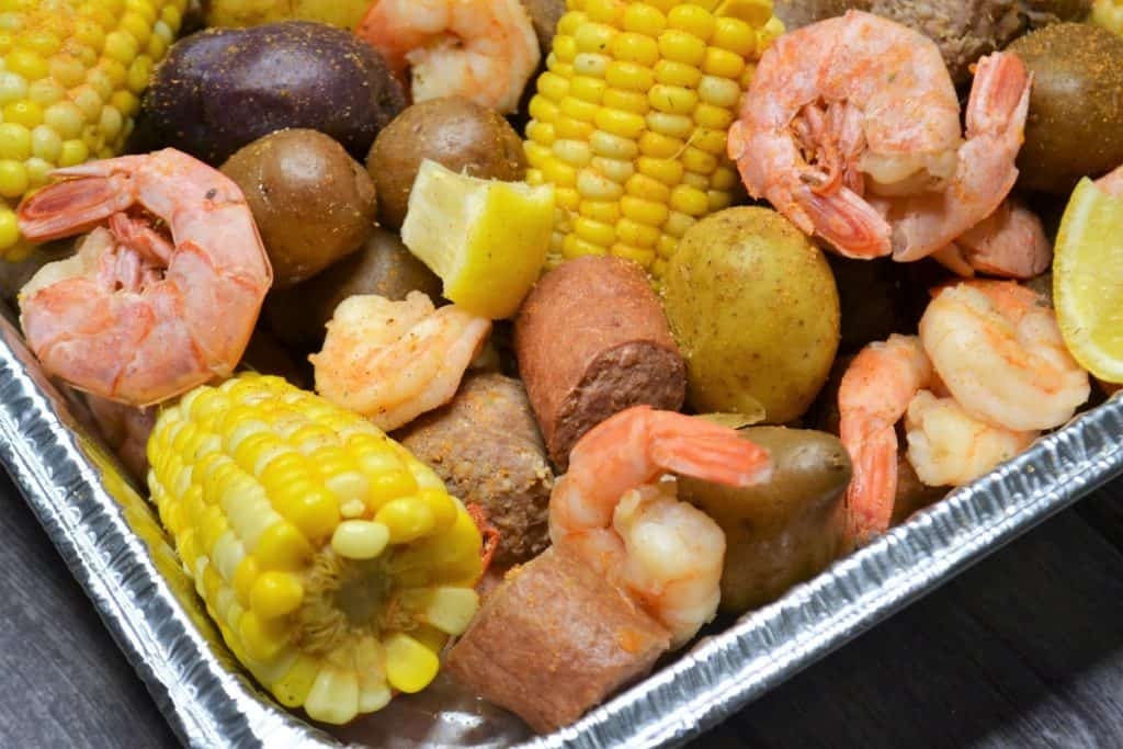 close up of this shrimp and sausage low country boil recipe