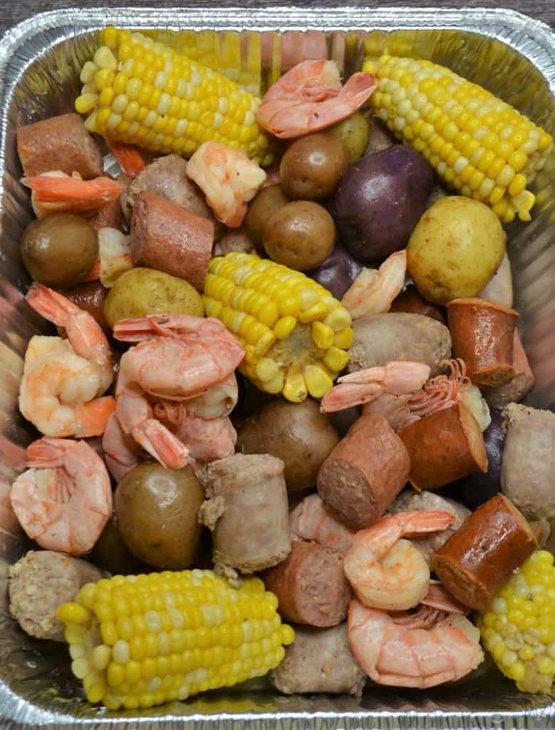 shrimp and sausage low country boil in a throw away pan