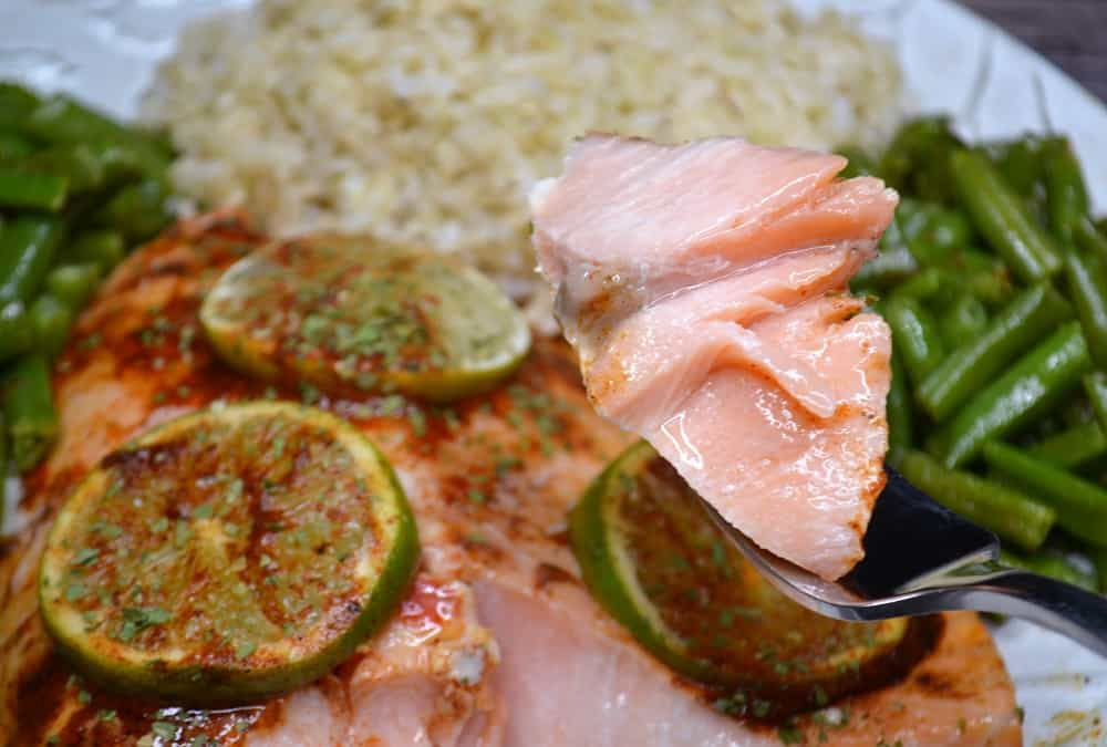 a juicy piece of chili lime salmon