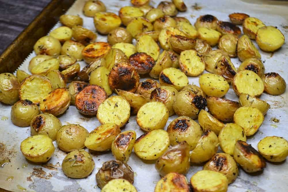 pan of roasted baby potatoes