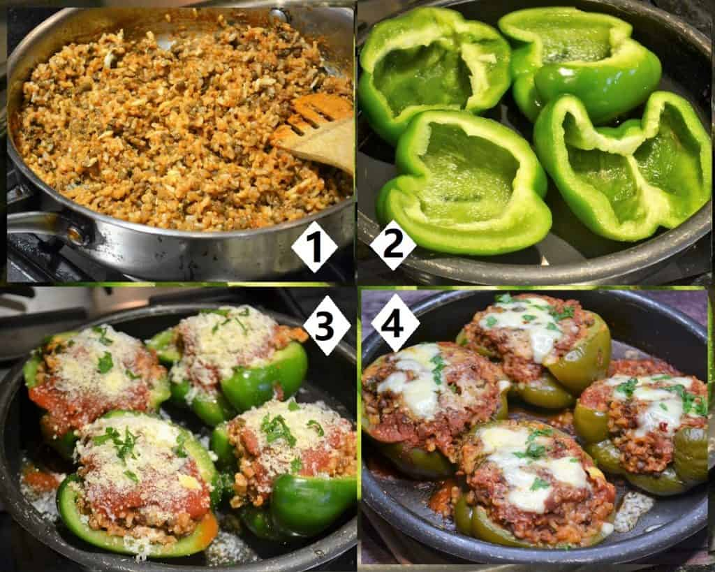 steps for making lentil and rice stuffed peppers