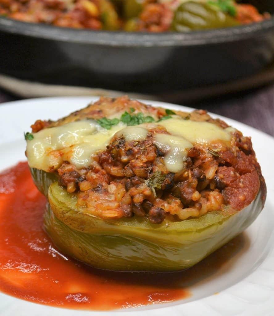 Vegetarian Stuffed pepper on a plate