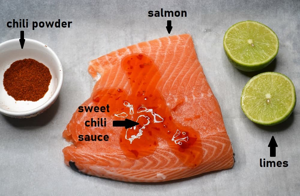 Recipe Ingredients needed for this sweet chili salmon recipe.