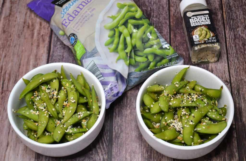 A bag of frozen edamame with seasoning and bowls of prepared edamame.